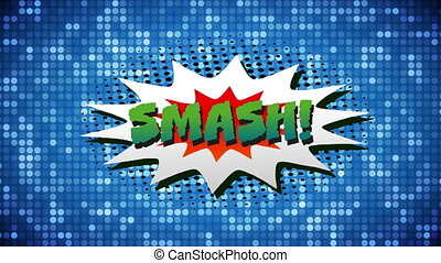 Smash text on speech bubble against glowing dots on blue ...