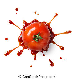 crushed or splattered tomato with ketchup isolated on white