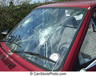 Smashed - Busted windshield on an older car