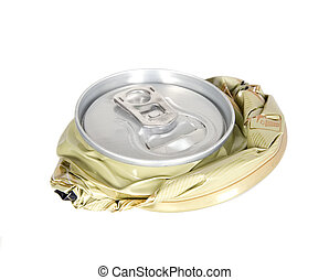 Smashed can on white background, pollution and recycling ...