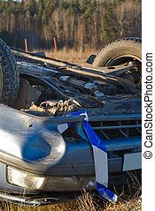smashed car upsidedown