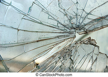 Smashed Glass - Closeup of smashed glass panel cracked and ...