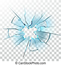 Smashed Glass Window Broken Bullet Hole Vector