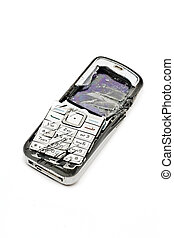 Smashed mobile phone - Smashed cellular phone isolated on...