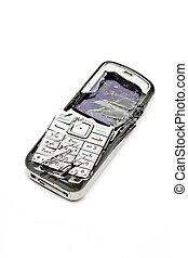 Smashed mobile phone - Smashed cellular phone isolated on ...