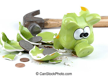 Smashed Piggybank-American - Smashed coinbank with american...