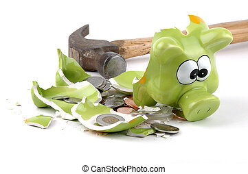 Smashed coinbank with Canadian coins spilling out.