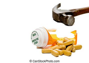 Smashed Pill Bottle - A prescription drug pill bottle ...