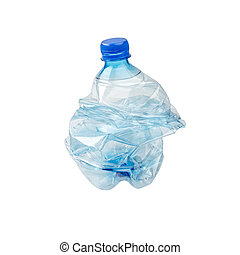 Smashed Plastic Bottle - An empty smashed blue plastic...