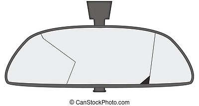 A smashed car rear view mirror isolated on a white background