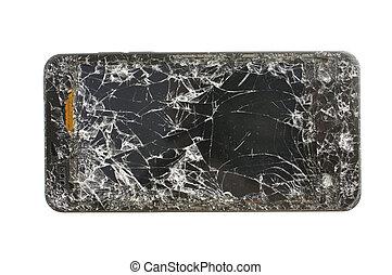 Smashed smart phone - Closeup of severly cracked smashed ...