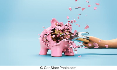 Smashing up the piggy bank with a hammer in slow motion
