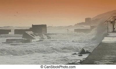 Smashing Waves - Storm Waves Smashing Against Breakwaters....