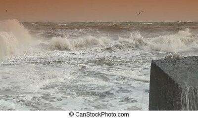 Smashing Waves - Storm Waves Smashing Against Breakwater.