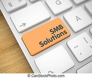 SMB Solutions - Message on the Orange Keyboard Key. 3D.