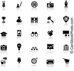SME icons with reflect on white background