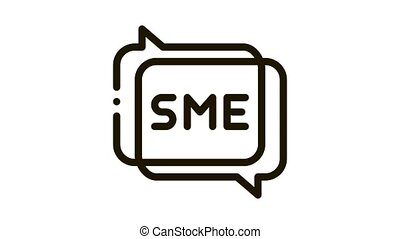 Sme In Talking Quote Frames Icon Animation. black Sme Communication, Discussing And Speaking animated icon on white background