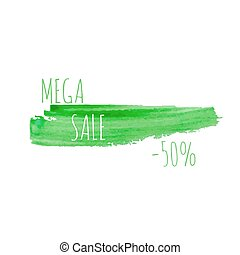 Smear a watercolor painting. Discount goods. Mega sale of 50...