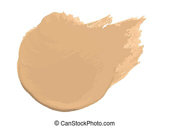 Smear of foundation lotion made with brush on white background. Vector Illustration