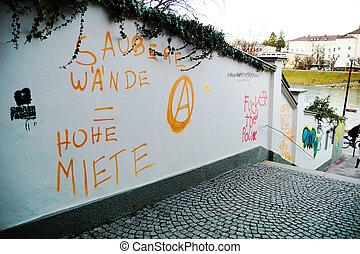smeared garden wall - a garden wall in salzburg was...