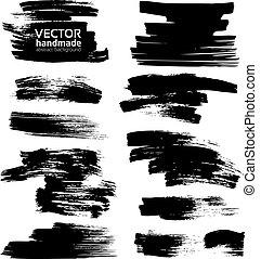 smears, blanc, papier, encre noire
