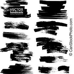 smears, branca, papel, tinta preta