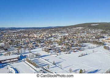 Smedjebacken in winter drone photo