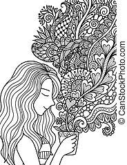 smell coffee - Pretty girl smell the floral coffee smoke for...