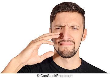 smell., contro, cattivo, titolo portafoglio naso, uomo
