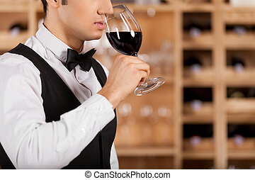 Smelling a good wine. Cropped image of confident young sommelier standing in front of shelf with wine bottles and keeping arms crossed