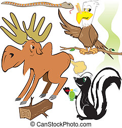 Smelly Forest Critters - Clip art of various funny forest...
