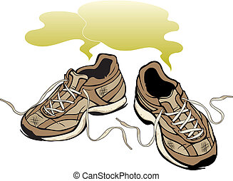 Vector Illustration of a pair of smelly old shoes.
