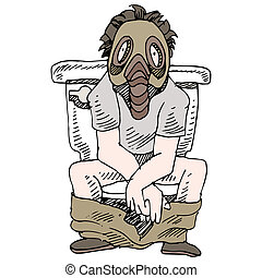 Smelly Toilet - An image of a man sitting on a smelly toilet...