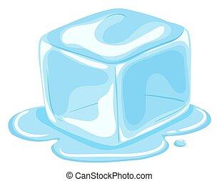 smelte, terning, is, stykke