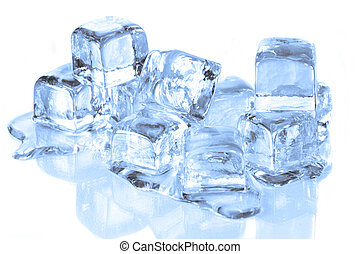 smeltende, blokje, oppervlakte, ijs, reflecterend, koel
