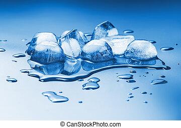 smeltende, ijs kubeert