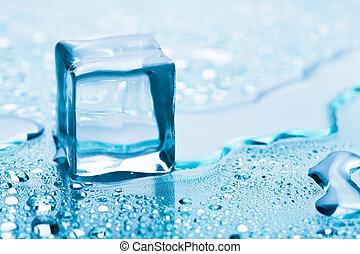 smeltende, kubus, ijs