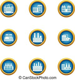 Smelter icons set, flat style - Smelter icons set. Flat set...