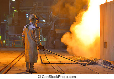 Smelting furnace and worker - Smelting furnace with detail...