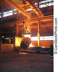 Smelting industry Factory hall. Retapping of molten metal.