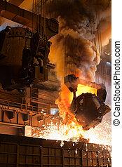 Smelting metal in steel mill