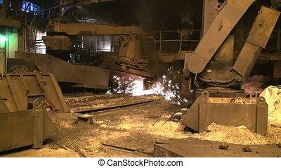 smelting, van, vloeistof, metaal