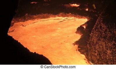 smelting, van, vloeistof, metaal, van, hoogoven