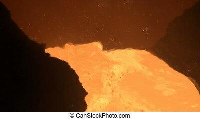 smelting, van, vloeistof, metaal, van, stoot