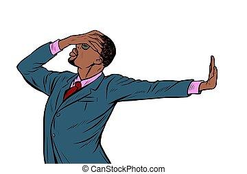 smentita, no, vergogna, americano, businessman., africano, gesto