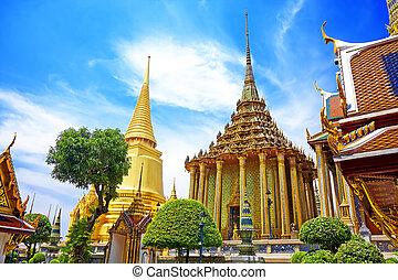 smeraldo, tempio, palazzo, kaew, phra, bangkok, grande, buddha., tailandia, wat
