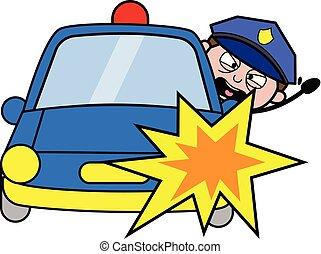 smeris, ongeluk, politieagent, auto, -, illustratie, vector, retro
