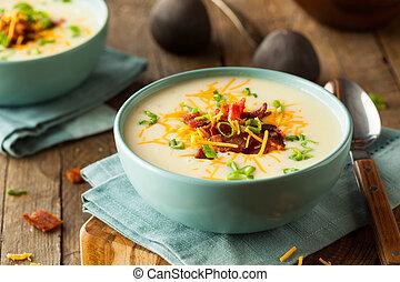 smetanový, naložený, pečený, polévka, brambor