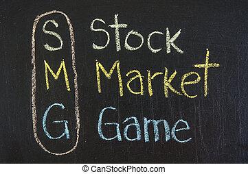 smg, acroniem, spel, markt, liggen