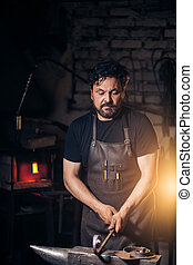 smid, verticaal, workshop, baard